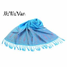 indien türkis Rabatt Türkis Schal Paisley Tippet aus Indien Winter Schals 100% Baumwolle Pashmina Damen Echarpe Oversize Mode Schals umhüllt 190 * 70