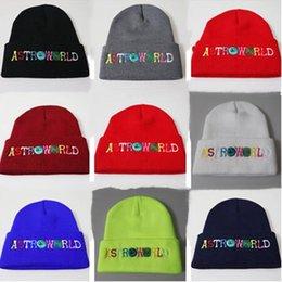 2019 häkeln buchstaben ASTROWORLD Letters Embroidery Beanies Herren Damen Strickmützen Herbst Winter Crochet Hats Unisex 8 Farben Teenager Hip-Pop Skull Caps B62902 rabatt häkeln buchstaben
