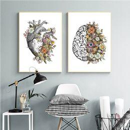 2019 imagens de heart art Wall Art Floral Anatomy Vintage Brain Heart Canvas Pintura retro Pôsteres e Prints Pictures Médico Clínica Decor imagens de heart art barato