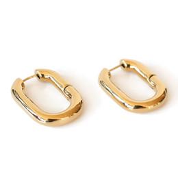 Pendientes ovalados online-2019 Diseño Simple Geométrico Rectangular Cerradura Hebilla de Color Oro Metal Latón Oval Forma Pequeños Pendientes de Aro Joyería de Fiesta de Las Mujeres