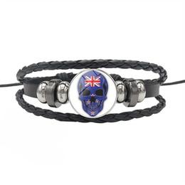 Nuovi gioielli della zelanda online-Nuovo Design Nuova Zelanda Bandiera nazionale Tempo Gemma Cupola in vetro serie ciondolo braccialetto di fascino per le donne uomini in pelle corda gioielli in rilievo regali
