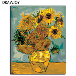 Lona de pintura a óleo de girassol on-line-DRAWJOY Van Gogh Girassol Pintura Por Números Imagem Sem Moldura DIY Pintura A Óleo Da Lona Home Decor Para Sala de estar G234 40 * 50 cm