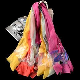 Bordado de seda de organza on-line-Novas selvagem senhoras organza jacquard bordados lenço de seda cachecol xale protetor solar