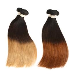 Cabelos indianos on-line-3 Tom indiano Ombre Cabelo Liso 3/4 Bundles Tissage Cheveux Humain Loira Ombre Remy Feixes de Cabelo Humano Em Linha Reta