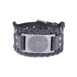 Pulseras irlandesas online-NEW Cuff Wristband Punk Adjustable Leather Bracelets Vintage Punk Irish Knot Slavic Wicca Norse Runes Charms Jewelry