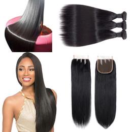 Cheveux vierges en Ligne-Pleine cuticule et faisceau de cheveux raides humains de haute qualité alignés de haute qualité avec le fermoir