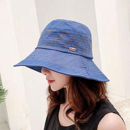 ladies dome hat style Promo Codes - SUOGRY New Autumn Winter Caps for Women Flat Top Cotton Women Hats Korea Style Casual Ladies Bucket Hats Panama Fishing Cap