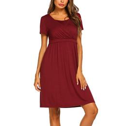 Pflegender nachtwäsche online-Frauen Mutterschaft Kleider Sommer Elegante Mode Stillen Nachtwäsche Casual Pflege Kleid Schwangere Kleidung Vetement Femme 19my