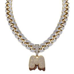 Iniziali di diamanti online-18K oro CZ Cubic Zirconia Mens A-Z Big Bubble Lettere Cuban Link Chain Collana Iced Out Full Diamond Iniziali Gioielli Hip Hop per ragazzi