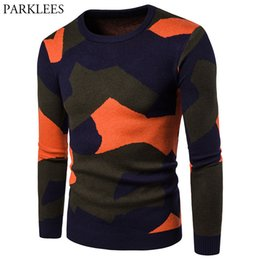 homens crochet pullover Desconto Camuflagem Sweater Homens 2017 da marca New Mens Casual malha Camisolas Outono Inverno Long Sleeve Slim Fit Crochet pulôver