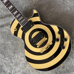 2020 guitarras zakk wylde Livre ShippingCustom Loja Zakk Wylde Preto trançado bullseye guitarra elétrica amarelo bordo Neck Fingerboard, White Pearl Bloco de embutimento, Cópia E desconto guitarras zakk wylde