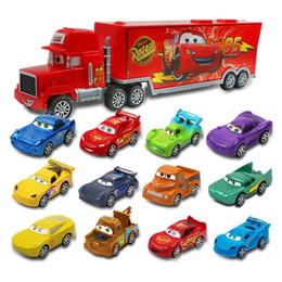 Modelos de camiones de juguete contenedor online-7pcs / Caja de uno y cincuenta y cinco Diecast Model Cars inercia de dibujos animados y jalar los regalos de Navidad de recogida Atrás de coches de juguete camión contenedor de juguete modelo de coche