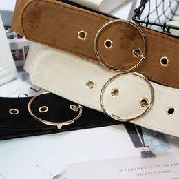 New Design Wide Belt Female Dress belts Decorate Waistband Fashion Solid Simple Buckle Velvet Belt Party For Jeans Dress women