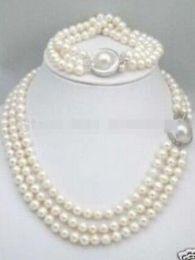 Triple rangée de perles des mers du sud en Ligne-LIVRAISON GRATUITE triple brins 8-9mm South Sea White Pearl Collier Bracelet ensemble Mabe Clasp
