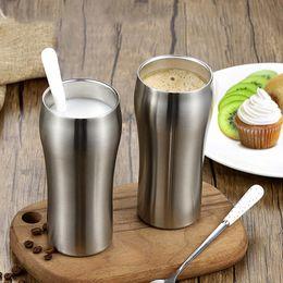 2019 tasses froides chaudes Tasse de café en acier inoxydable à double paroi de 430 ml avec une tasse de café pour boire des boissons fraîches et fraîches dans une tasse tasses froides chaudes pas cher