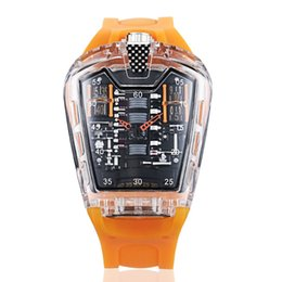 Мужские часы водонепроницаемые онлайн-Men's personality square transparent silicone with waterproof quartz watch men's sports watches