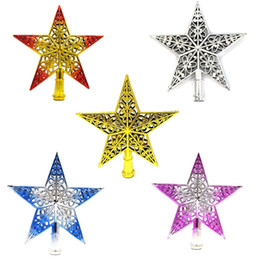 wholesale decorative indoor trees Coupons - Popular Christmas Tree Star Topper Ornament Plastic Hollowing Out Decorative Five Pointed Stars For Party Decorations 20cm 2 2bx E1