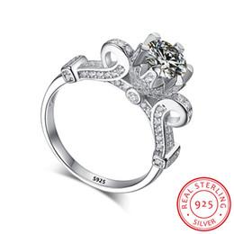 кольца обручальные Скидка Роскошные женщины Lotus Flower Ring 100% 925 ювелирных изделий стерлингового серебра 6мм CZ кубические кольца циркония помолвки Для невесты Женщины подарков Оптовая XR001