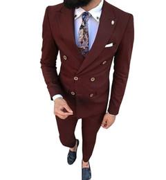 casaco de homem elegante Desconto Thorndike Mais novos ternos Groomsmen escuro Borgonha Noivo Smoking Cutomer Homme Men casamento melhor homem Blazer 2 peças (jacket + pants)