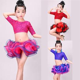 mädchen latin röcke Rabatt Latin Tutu Rock Mädchen Tanzen Tops Zweiteiler für Performance Stage Lace Floral Flamengo Samba Tanzen Kleidung