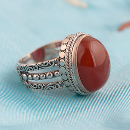 Roter ovaler achat online-Rot-Achat-Ring 925 Sterlingsilber-Weinlese-Thai Silber Oval geformter Naturstein übertriebene große Frauen Ringe