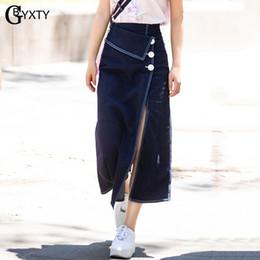 saia jeans longa Desconto GBYXTY Moda Denim Longo Saia Streetwear Irregular Dividir Cintura Alta Maxi Saia Jeans Mulheres Botão A-Line Jean ZA1488