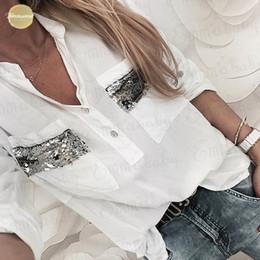 blusa de botão branco Desconto New Mulheres Blusa branca Long Sleeve Button-Down Low Tops blusa branca Casual shirt Roupa Cut Moda