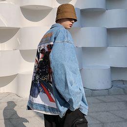 2020 coppie immagini invernali 2019 Autunno Inverno versione coreana di coppia personalità casuale Immagine Stampa allentato Giacca di jeans coppie immagini invernali economici