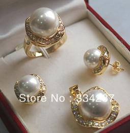 i monili del sud della perla del mare si regolano Sconti New Listed! Spedizione gratuita White South Sea Shell Pearl Ring Pendant Orecchino Set di gioielli
