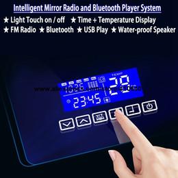 Surface de la salle de bains miroir temps système de musique d'affichage de la date de température de température avec la radio et le lecteur usb commutateur de capteur tactile de port usb ? partir de fabricateur