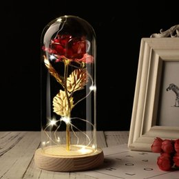 tecido bouquet de flores artificiais Desconto Rose Valentine Gift Wedding Party In Glass Dome Beauty Rose sempre preservada Presente romântico especial