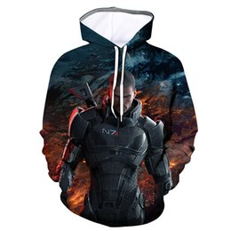 mass effect hoodie Promo Codes - Mass Effect 3D Printing Mens Hoodies and Sweatshirts Men Hooded Black Long Sweetheart Clothing Sudadera Hombre