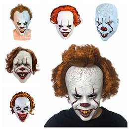 Traje cheio de palhaço on-line-Halloween Joker Máscara Máscaras horror rosto cabeça Dance Party Festival Cosplay Decoração Fontes do partido TTA1905-2