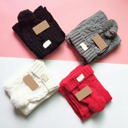 Kabelgestrickter Schal und Hüte Set Jugend Winter Schal Mütze im Set mit Label Pom Pom Beanie Sets von Fabrikanten