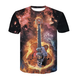 e3a9578b32 rock guitar t shirts Desconto 2019 marca new men casual lycra fogo preto camisetas  rock guitarra