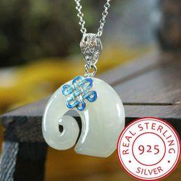 chinesische gold halskette anhänger Rabatt Modeschmuck Gold Halskette 925 Sterling Silber Emaille natürliche Hetian Jade chinesischen Knoten Elefanten Anhänger Schmuck Halskette