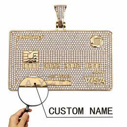 kreditkartenkette Rabatt 18 Karat vergoldete VISA Kreditkarte Anhänger Halskette Mikro gepflasterten Kubikzircon mit Edelstahl Seil Kette