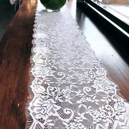 tovaglia del fiore del ricamo Sconti 18 * 300 cm bandiera da tavolo frangiata tela da imballaggio tela di iuta runner pizzo panno per sala da pranzo ristorante tavolo gadget casa / decorazione di cerimonia nuziale