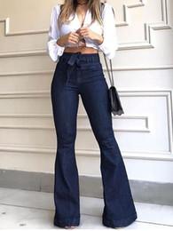 plus hohe taillenglockeböden Rabatt Frauen Herbst-Winter-Denim mit hohen Taille Bell Bottom Jeans Plus Size feste beiläufige Jeans