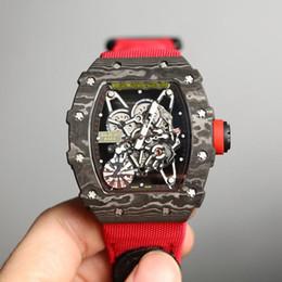 2019 orologio rosa caldo Versione top RM 35-01 RAFAEL NADAL Skeleton Dial NTPT All Case in fibra di carbonio Giappone NH Automatic 35-01 Orologi da uomo Cinturini in nylon Orologi sportivi