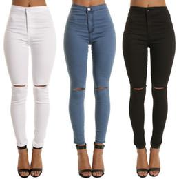 LASPERAL Dropshipping 2019 New Apring Nero a vita alta Jeans aderenti per  le donne Hole Vintage Ragazze Slim strappato pantaloni a matita Denim 510e41dd34f