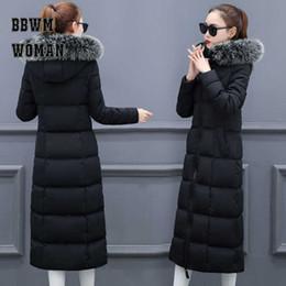 Super Long Warm Big Pelz Kragen Down Baumwollmantel Frauen Schwarz Beige Rot Farbe Brot Stil Weibliche Parkas ZO1772