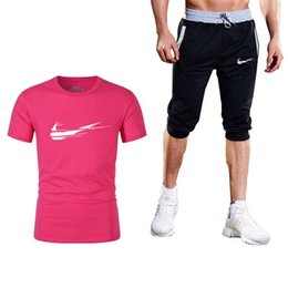 sale quality t shirts Promo Codes - Quality Men's Sets Summer Hot Sale Men's Sets T Shirts+shorts Two Pieces Casual Tracksuit Male Gyms Workout Fitness