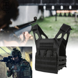 Chaleco negro airsoft online-Chaleco táctico de alta calidad negro para hombre chaleco de caza campo batalla Airsoft Molle chaleco de combate placa de asalto portador