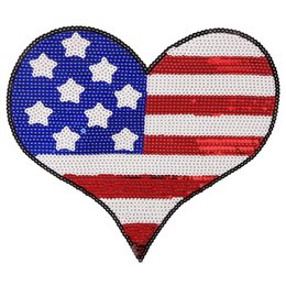 Usa-flaggen-jeans online-Stickerei Pailletten USA Flagge Patches für Jacken, Pailletten Herz Sterne Applikationen Abzeichen für Jeans, Patches für Kleidung A49