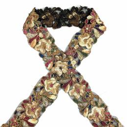 10 metri di perline con paillettes in pizzo nastro di pizzo in pizzo tessuto africano collo collare abito da cucire materiali copricapo dell'indumento da