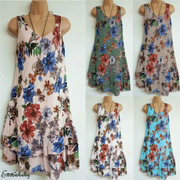 Knielänge beiläufige feiertagskleider online-Womens Sommerkleid Bohemian Holiday Ladies Beach Style ärmellose Tank V-Ausschnitt Party Floral lose knielangen Freizeitkleid S-2XL