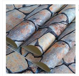 Papel de parede tijolo dimensional on-line-Retro-nostalgia, tridimensional tijolo-como pedra, pedra, papel de parede de mármore, loja de roupas, barbearia, Decoração Wallpaper