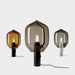 2019 i marmi di vetro liberano il trasporto Lampada da tavolo in marmo creativo postmoderno soggiorno lampada da comodino arte studio camera da letto vetro fumo lampada da scrivania in vetro grigio fumo spedizione gratuita i marmi di vetro liberano il trasporto economici