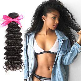 pelo virgen remy trenzado Rebajas Virgin Indian Remy Hair Deep Wave 3 Bundles Armadura de cabello 3 piezas Remy Extensiones 300G Trama de armadura de cabello humano sin procesar Sin trenzar Natura